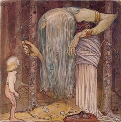 'Here is a piece of a troll herb which nobody else but me can find' by John Bauer. Illustration for The Boy Who Could Not Be Scared by Alfred Smedberg in the anthology Among Pixies and Trolls. John Bauer, Troll, Magic Herbs, Fine Art Prints, Canvas Prints, Art Database, Fantasy Creatures, Fairytale Creatures, Forest Creatures