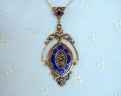 Antique Art Deco Enamel Pendant - Vintage Gold Tone Enameled Necklace - Cobalt Blue Enameled Motifs