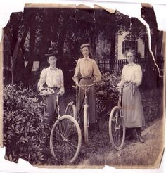 Turn of the century women with their bicycles
