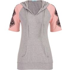 maurices Pullover With Graphic Sleeves ($34) ❤ liked on Polyvore featuring tops, pink bloom combo, maurices, tie top, short sleeve pullover, hooded pullover e white tops