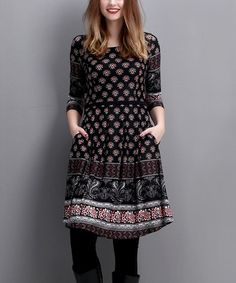 Love this Black Damask Fit & Flare Dress on #zulily! #zulilyfinds