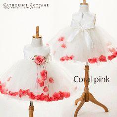 商品番号: KD195B 子どもドレス 花びらいりチュールスカートベビードレス 結婚式 子供ドレス 発表会 べビーフォーマル KD195B