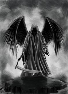 "Updated on May 2018 This is my love letter to one of my very favorite Archangels, Azrael; the Angel of Death. AKA: The Angel of Ascension and the ""Keeper of the Door. Grim Reaper Art, Grim Reaper Tattoo, Don't Fear The Reaper, Grim Reaper Drawings, Dark Fantasy Art, Dark Art, Tattoo Tod, Angel Of Death Tattoo, Dark Angels"