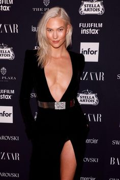 Kendall Jenner flashes her knickers while Elsa Hosk, Karlie Kloss and Adriana Lima bare their breasts at Harper's Bazaar ICONS party I Love Girls, Cool Girl, Low Cut Black Dress, Hot Blonde Girls, Elsa Hosk, Karlie Kloss, Queen, Adriana Lima, Poses
