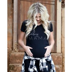 Baby Mama Maternity Shirt Pregnancy Announcement Shirt Pregnancy... ($35) ❤ liked on Polyvore featuring maternity, grey, t-shirts, tops and women's clothing