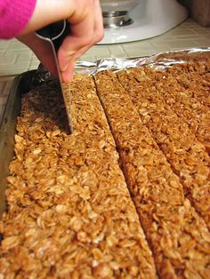 Delectably Mine: Crunchy Granola Bars Instead of nuts, I added 1 cup of quick oats. Also did not bake completed bars because we do not like crunchy bars