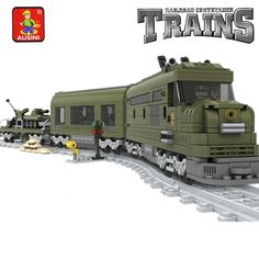 56.90$  Buy now - http://alicp7.worldwells.pw/go.php?t=32787700214 - Model building kits compatible with lego MILITARY TRAIN 764 pcs 3D blocks Educational model building toys hobbies for children