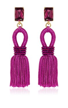 Short Silk Loop Tassel Magenta Earrings by Oscar De La Renta - Preorder now on Moda Operandi