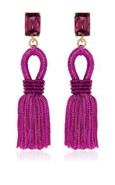 Short Silk Loop Tassel Magenta Earrings by Oscar De La Renta - Preorder now on Moda Operandi