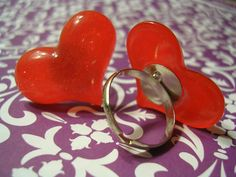 Red Sparkly Heart Ring - Red Shimmer Heart Resin Cabochon Adjustable Band Ring