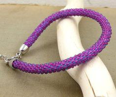 Beads crochet rope bracelet , beadwork jewelry , beaded bracelet , purple bracelet