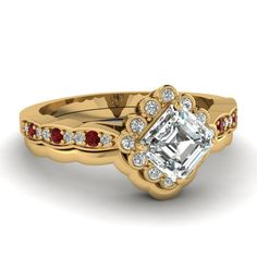 Entrancing Halo Set || Asscher Cut Diamond Wedding Set With Red Ruby In 14K Yellow Gold