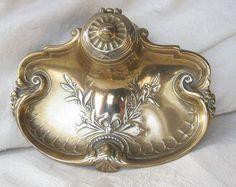 Art nouveau/ edwardian brass inkwell
