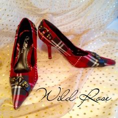 "HOST PICK! Wild Rose Plaid Pointed Toe Heels  HP 1/22/15 Best in Shoes & Boots Party! Wild Rose Red Plaid Pointed Toe Heels, with buckle accents, size 7 with 3.5"" heels. Worn once, in great condition! These pumps look fantastic with jeans and a red or black top. Wild Rose Shoes Heels"