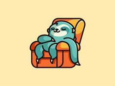 Lazy Sloth - Option 3 by Alfrey Davilla Mascot Design, Logo Design, Sloth Sleeping, Outline Illustration, Dibujos Cute, Dolphins, Lazy, Cute Animals, Character Design