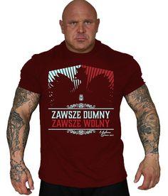 Koszulka 'Zawsze Dumny' bordowa - przód ---> Streetwear shop: odzież uliczna, kibicowska i patriotyczna / Przepnij Pina!