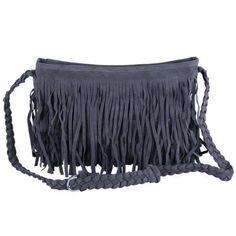 Ecosusi Purse Hippie Suede Tassel Fringe Crossbody Handbag Dark Gray NeW #ecosusi #purse