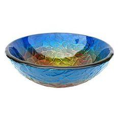 Eden Bath�Blue Glass Round Vessel Sink