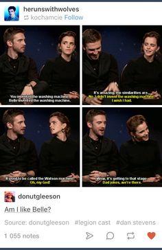 Dan Stevens, Emma Watson and dad jokes