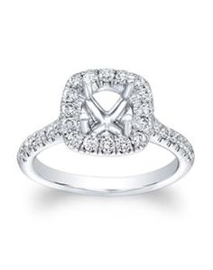14KT White Gold Round Diamond Semi-mount Engagament Ring