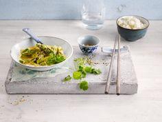 Tasty asparagus Asian wok made with Alpro Soya Cuisine & Alpro Coconut Cuisine