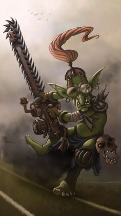 Bloodbowl chainsaw goblin by Traaw on deviantART