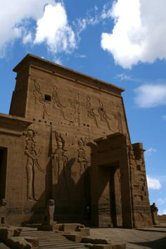 Detail Of Front Entrance Of Philae Temple Aswan Egypt