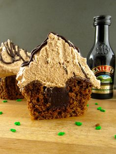 mocha cupcakes filled with irish cream ganache and topped with chocolate & irish whipped cream. (and the small-batch recipe only makes 4 cupcakes . . . although let's be real, i'd eat all 4 myself!)