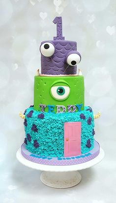 My first opportunity to make my take on monsters Inc cake from the royal bakery. Monster 1st Birthdays, Monster Inc Party, Monster Birthday Parties, Birthday Cake Girls, Monster University Party, 2nd Birthday, Birthday Ideas, Monster Inc Cakes, Monsters Inc Baby Shower
