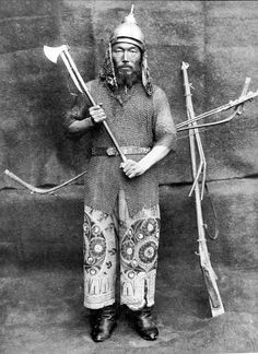 Kazakh warrior wearing a helmet with mail aventail and mail hauberk, he is holding an axe, a matchlock and bow are in the backround. The Kazakh Khanate was a Turkic Kazakh state, the successor of the Golden Horde, existing from 1456–1847, located roughly on the territory of the present-day Republic of Kazakhstan. At its height the khanate ruled from eastern Cumania (modern-day West Kazakhstan) to most of Uzbekistan, Karakalpakstan and the Syr Darya river.