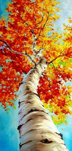 Beste Leinwand-Malerei-Ideen f r Anf nger 11 ad Tree Painting Easy, Fall Canvas Painting, Autumn Painting, Autumn Art, Autumn Trees, Canvas Canvas, Fall Leaves, Art Et Nature, Nature Artists