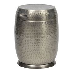 Bombay Outdoors Madras Drum Side Table, Silver