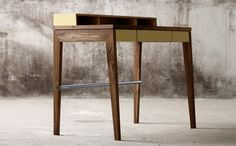 Compact desk in ash or walnut designed by Mint Mint Furniture, Modular Furniture, Cool Furniture, Modern Furniture, Furniture Design, Bureau Design, Compact, Desks For Small Spaces, Desk Inspiration