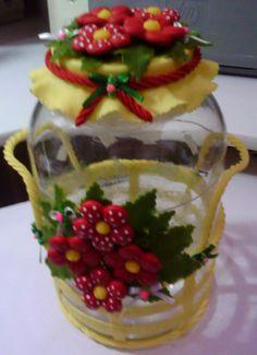biscuit potes | Blog de nanyarte :Nany Arte em Biscuit, Pote de cesta com flores