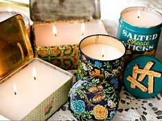 DIY Tin Candles-- could do this with the pretty cookie tin I got in France