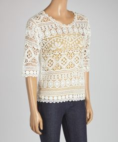 This White Crocheted Scoop Neck Top is perfect! #zulilyfinds