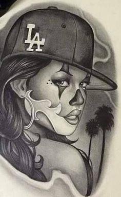 Chicano Art Tattoos, Chicano Drawings, Gangsta Tattoos, Tattoo Drawings, Art Drawings, Arte Cholo, Cholo Art, Thug Life Tattoo, Tattoo Girl Wallpaper