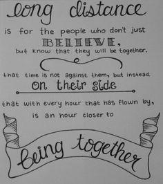 ''Cada hora que ha pasado volando, es una hora más cerca de estar juntos.''