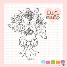 Flower Bouquet Digital Stamp for Card Making Paper by 2CuteInk, $3.00