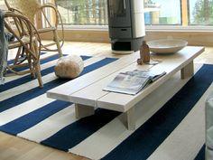 Weiß Blau niedriger Kaffeetisch Holz Möbel Design