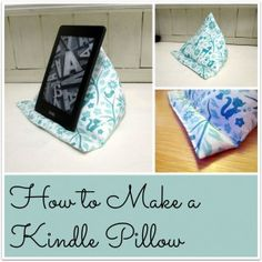 How to make a triangular kindle pillow. A very easy tutorial, no pattern required and no fiddly triangles! Use rice or lentils to fill it. There are also instructions for making a version of the pillow for your phone. A text only version can be downloaded for printing. From Tea and a Sewing Machine www.awilson.co.uk