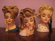 Three Lady Head Vases