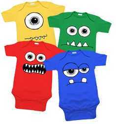 Monsters 4 One Piece Set by My Baby Rocks - Monster Baby Onesie