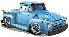 "24"" Hot Rod Truck #1 BLUE custom car Wall Sticker Kids Art Decal color Graphic"