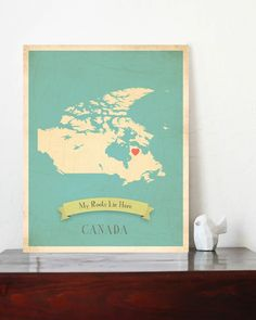 Canada Roots Map 11x14 Customized Print by MyRoots on Etsy