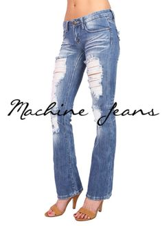 Destroyed Boot Cut Jeans
