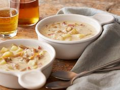 """New England Clam Chowder When cooking with clams, """"always check for broken or cracked shells,""""  Anne says, and if you find any, ditch 'em. Steam the clams to open them and reserve the natural clam juices and seawater to flavor your chowder."""