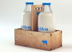 Brazilian based designer Isabella Rodriguez has created packaging and branding for Le Bleu lait  a small company from Mirepoix, France.
