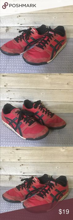 Onitsuka Tiger Asics Red & Black Sneakers, 9 1/2 These fantastic Onitsuka Tigers have been worn well and show it, but still have lots of wear left. Priced accordingly, view photos closely. Bundle and save! Reasonable offers welcome. Onitsuka Tiger by Asics Shoes Sneakers