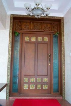 the main door with inlaid tiles. Ethnic Home Decor, Indian Home Decor, Main Gate Design, Office Decor, Interior Design, Interior Doors, Entrance, Tiles, Architecture
